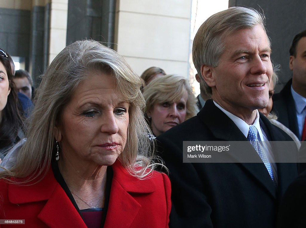 Former Virginia Gov. <a gi-track='captionPersonalityLinkClicked' href=/galleries/search?phrase=Bob+McDonnell&family=editorial&specificpeople=6369061 ng-click='$event.stopPropagation()'>Bob McDonnell</a> and his wife, Maureen leave the US District Court for the Eastern District of Virginia, on January 24, 2014 in Richmond, Virginia. McDonnell and his wife Maureen pleaded not guilty to a 14 count criminal indictment from federal grand jury charging that the couple violated federal corruption laws by using their positions to benefit a wealthy businessman who gave them gifts and loans.