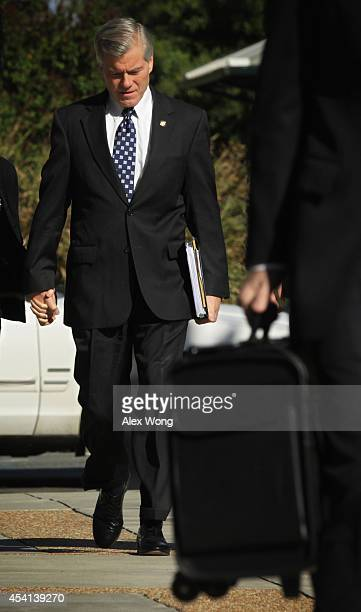 Former Virginia Gov Robert McDonnell arrives at his corruption trial at US District Court for the Eastern District of Virginia August 25 2014 in...