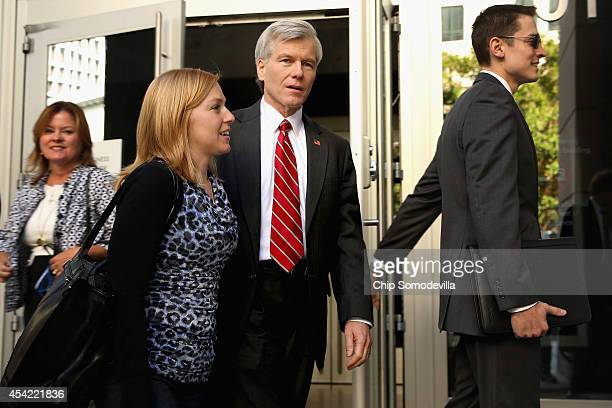 Former Virginia Governor Bob McDonnell is accompanied by his daughter Cailin Young as they leave the US District Court for the Eastern District of...