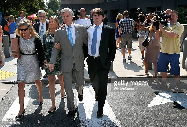 Former Virginia Governor Bob McDonnell leaves his trial at US District Court with daughter Rachel daughter Jenanine and son Bobby August 28 2014 in...