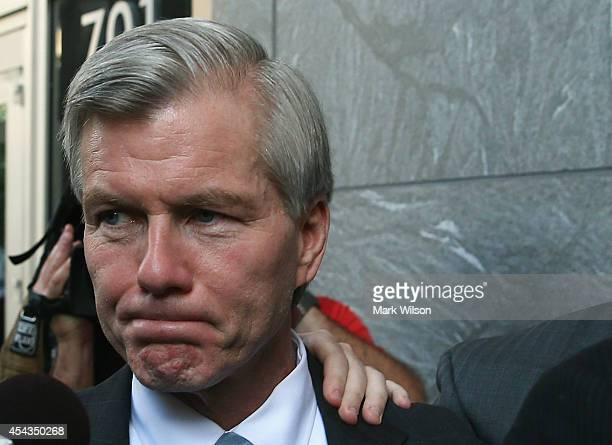 Former Virginia Governor Bob McDonnell leaves his trial at US District Court August 29 2014 in Richmond Virginia McDonnell and his wife Maureen are...