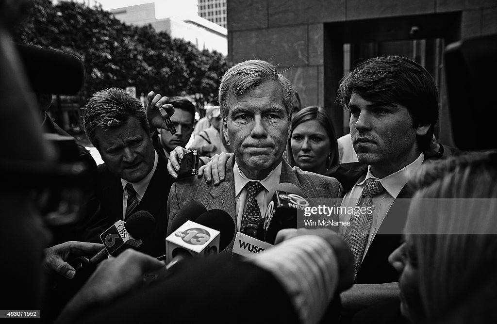 Former Virginia Governor <a gi-track='captionPersonalityLinkClicked' href=/galleries/search?phrase=Bob+McDonnell&family=editorial&specificpeople=6369061 ng-click='$event.stopPropagation()'>Bob McDonnell</a> (C) leaves his trial at U.S. District Court with his son Bobby (R) August 28, 2014 in Richmond, Virginia. McDonnell was convicted on federal corruption charges after taking money and goods in exchange for political favors.