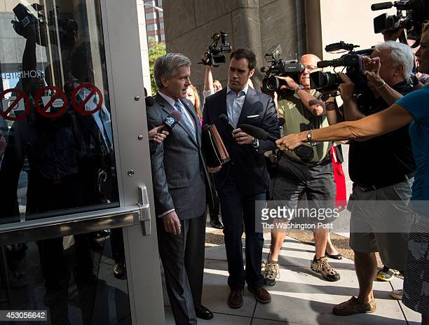 Former Virginia Governor Bob McDonnell surrounded by reporters arrives for his trial at the Spottswood W Robinson III and Robert R Merhige Jr Federal...