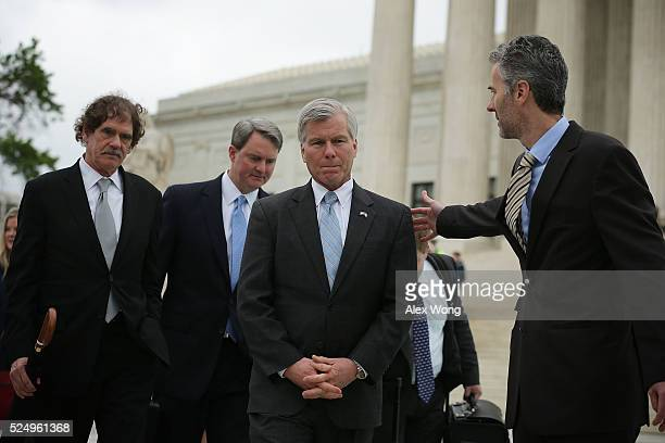 Former Virginia Governor Robert McDonnell approaches the microphones to speak to members of the media in front the US Supreme Court April 27 2016 in...