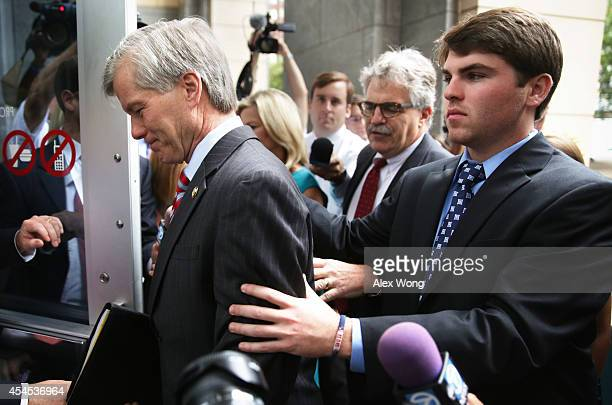 Former Virginia Governor Robert McDonnell arrives with his son Bobby at his corruption trial at US District Court for the Eastern District of...