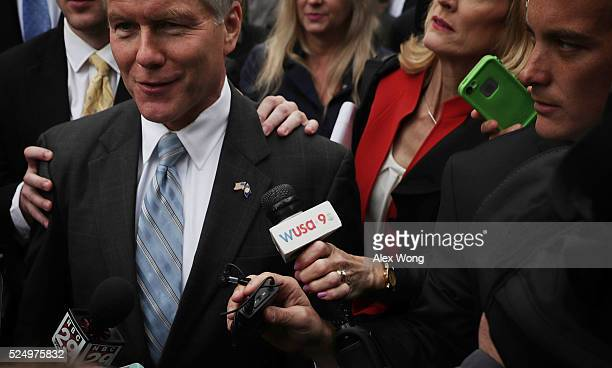 Former Virginia Governor Robert McDonnell followed by members of the media leaves the US Supreme Court April 27 2016 in Washington DC The Supreme...