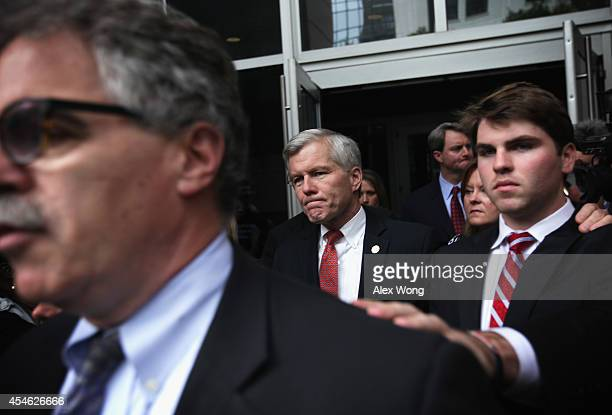 Former Virginia Governor Robert McDonnell leaves US District Court for the Eastern District of Virginia with family members including his son Bobby...
