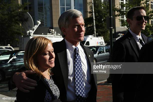 Former Virginia Governor Robert McDonnell leaves with daughter Cailin Young and soninlaw Chris Young at the end of the day of his corruption trial at...
