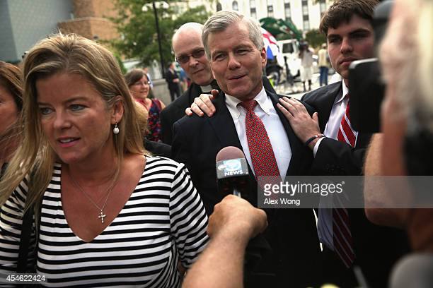 Former Virginia Governor Robert McDonnell returns with family members including his son Bobby to US District Court for the Eastern District of...