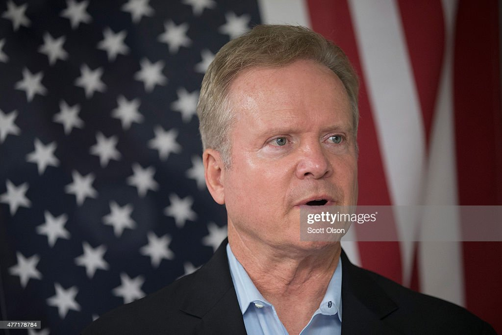 Former Virginia Senator <a gi-track='captionPersonalityLinkClicked' href=/galleries/search?phrase=Jim+Webb&family=editorial&specificpeople=3986302 ng-click='$event.stopPropagation()'>Jim Webb</a> listens to speakers at the Urbandale Democrats Flag Day Celebration on June 14, 2015 in Urbandale, Iowa. Webb is on a three-day tour of Iowa while he continues to explore his potential in a bid for the 2016 Democratic nomination for president.
