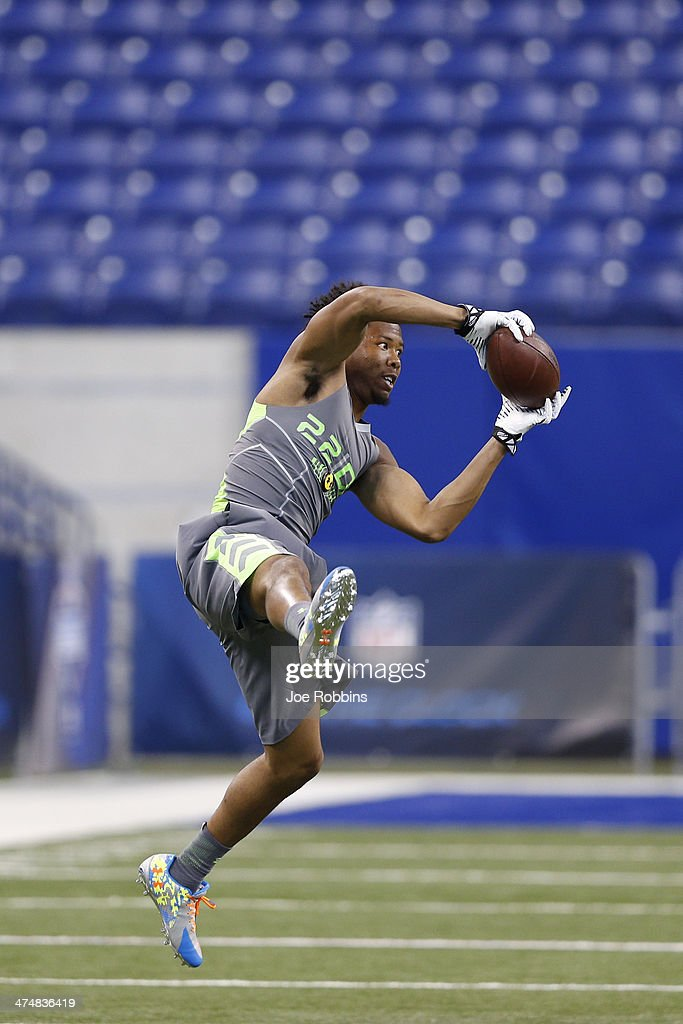 Former Virginia Tech defensive back Kyle Fuller goes high to catch the ball during the 2014 NFL Combine at Lucas Oil Stadium on February 25, 2014 in Indianapolis, Indiana.