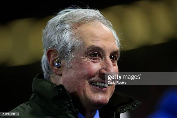 Former Wales and British Lions scrumhalf Gareth Edwards commentates during the RBS Six Nations match between Wales and France at the Principality...
