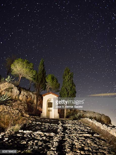 Former way paved of a viacrucis in the night