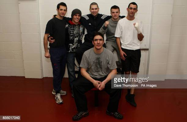 Former WBU Middleweight Champion Anthony Farnell with his 5 boxers Steve Bell Anthony Crolla Tony Bellew Frankie Gavin and Joe Selkirk at his gym in...