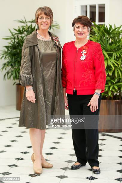 Former Wellington Mayors Celia WadeBrown and Dame Fran Wilde pose after receiving the Queen's Service Order and Dames Companion of The New Zealand...