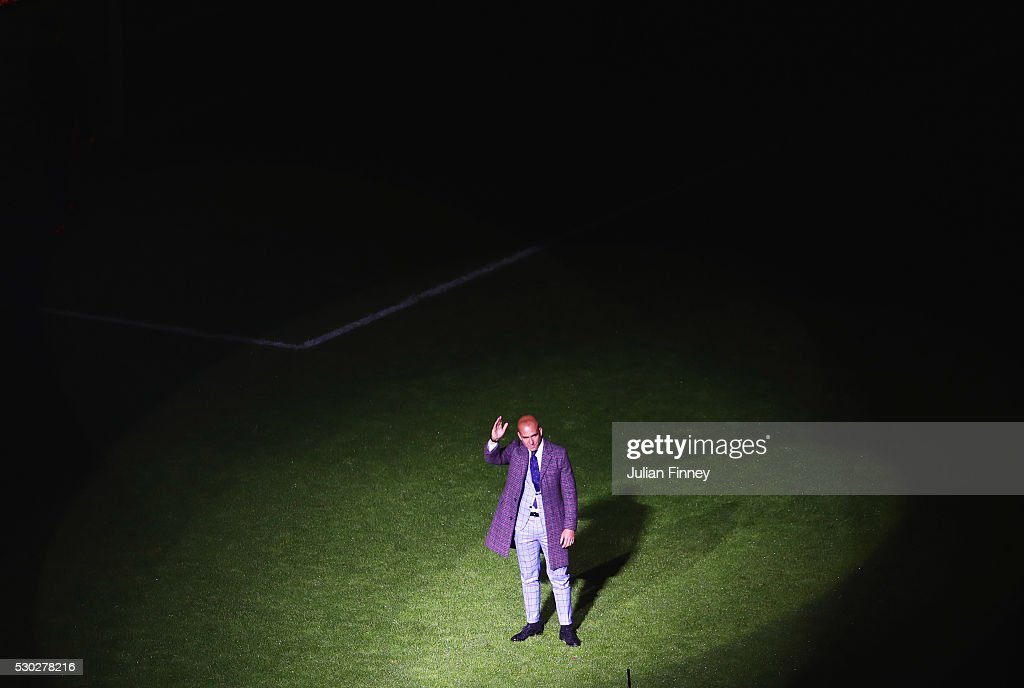Former West Ham United player Paolo Di Canio waves to the crowd as part of the after match presentations following the Barclays Premier League match...