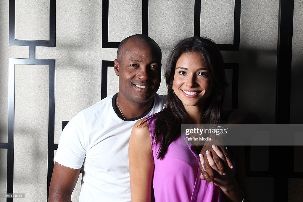Former West Indian cricket player <a gi-track='captionPersonalityLinkClicked' href=/galleries/search?phrase=Brian+Lara&family=editorial&specificpeople=162724 ng-click='$event.stopPropagation()'>Brian Lara</a> poses for a portrait with his partner, Jamey Bowers on November 17, 2014 in Sydney, Australia. Lara is in Sydney to play in a Pro-Am golf tournament.