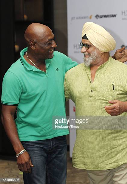 Former West Indian cricketer Vivian Richards with former Indian cricketer Bishan Singh Bedi during an Interview at Hyatt Hotel on August 20 2015 in...