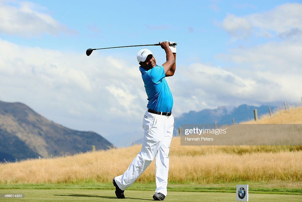 Former West Indies cricketer Brian Lara tees off during day two of the New Zealand Open at The Hills Golf Club on March 13, 2015 in Queenstown, New Zealand.
