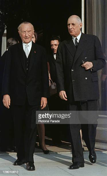 Former WestGerman chancellor Konrad Adenauer and French President Charles De Gaulle leaving the Elysee Palace after a meeting Paris November 1964