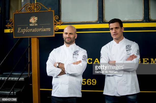Former White House Chef Sam Kass and Miguel Cobo presents the 'Exploratorium San Miguel beer' on March 23 2017 in Madrid Spain