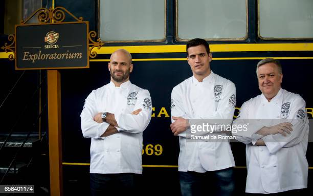 Former White House Chef Sam Kass Miguel Cobo and Jose Luis Martinez presents the 'Exploratorium San Miguel beer' on March 23 2017 in Madrid Spain