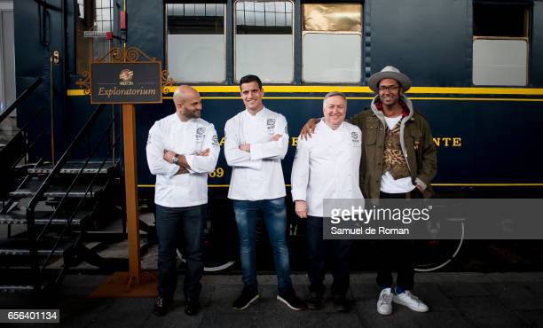 Former White House Chef Sam Kass Miguel Cobo Jose Luis Martinez and Johann Wald presents the 'Exploratorium San Miguel beer' on March 23 2017 in...
