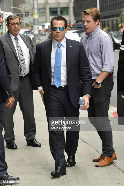 Former White House Communications Director Anthony Scaramucci arrives at 'The Late Show With Stephen Colbert' at Ed Sullivan Theater on August 14...