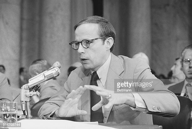 Former White House counsel John Dean testifies against the Nixon administration to the Senate Watergate Committee