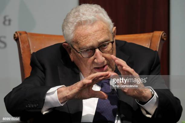 Former White House National Security Advisor Henry Kissinger participates in a discussion at The Center for Strategic and International Studies...