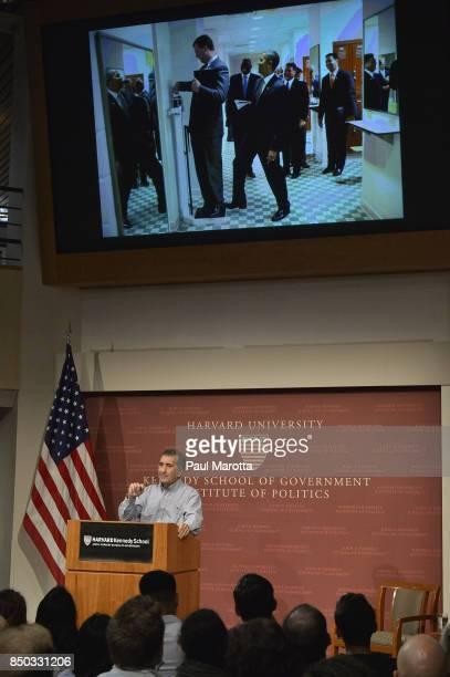 Former White House photographer Pete Souza speaks at the Harvard Kennedy School Institute of Politics John Kennedy Jr Forum 'Portrait of a Presidency...