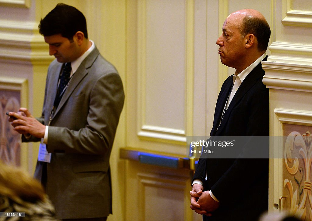 Former White House Press Secretary <a gi-track='captionPersonalityLinkClicked' href=/galleries/search?phrase=Ari+Fleischer&family=editorial&specificpeople=208879 ng-click='$event.stopPropagation()'>Ari Fleischer</a> (R) listens to a speech by former United States ambassador to the United Nations John Bolton during the Republican Jewish Coalition spring leadership meeting at The Venetian Las Vegas on March 29, 2014 in Las Vegas, Nevada.