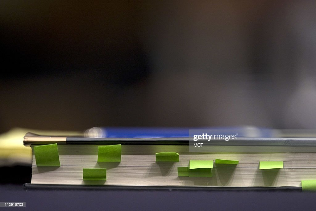 Former White House Press Secretary Scott McClellan's book 'What Happened' marked and sits on the witness table during testimony about his comments on the Bush administration's run-up to the Iraq war from his book before the House Judiciary Committee on Capitol Hill in Washington, June 20, 2008.