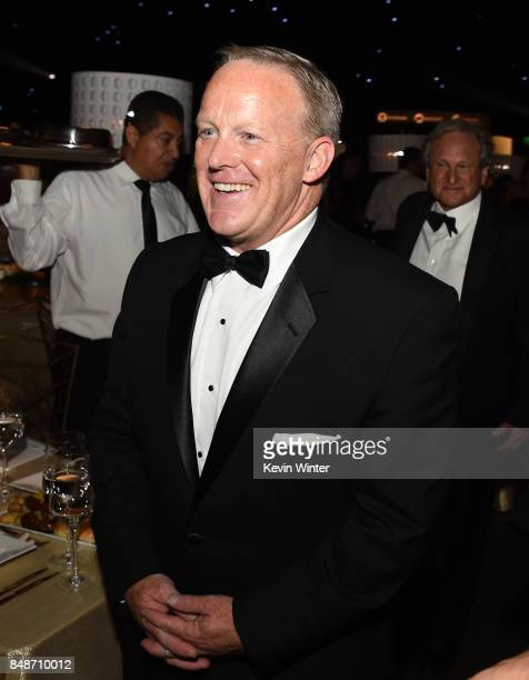 Former White House Press Secretary Sean Spicer attends the 69th Annual Primetime Emmy Awards Governors Ball on September 17 2017 in Los Angeles...