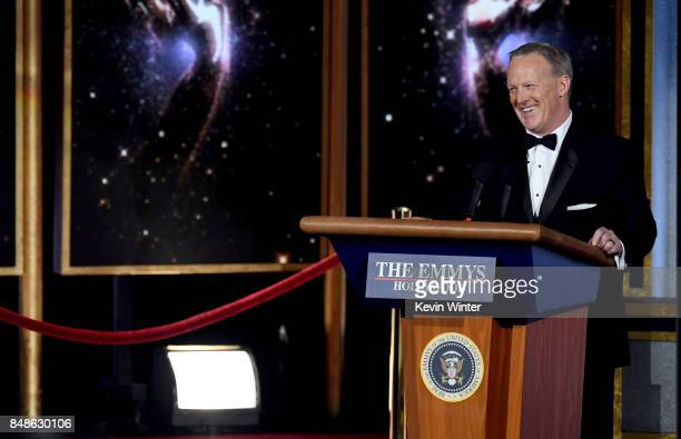 Former White House Press Secretary Sean Spicer speaks onstage during the 69th Annual Primetime Emmy Awards at Microsoft Theater on September 17 2017...