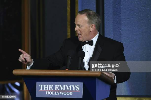 Former White House Press Secretary Sean Spicer speaks onstage during the 69th Emmy Awards at the Microsoft Theatre on September 17 2017 in Los...
