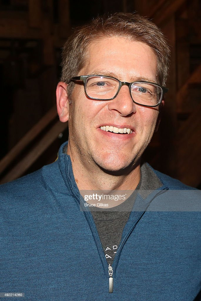 Former White House Secretary Jay Carney poses backstage at the hit musical 'Hamilton' on Broadway at The Richard Rogers Theater on October 10, 2015 in New York City.