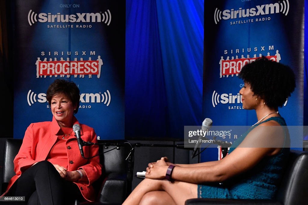 Former White House Senior Advisor Valerie Jarrett (L) talks to SiriusXM's Zerlina Maxwell for a 'Leading Ladies' event at SiriusXM Studio on April 4, 2017 in Washington, DC.