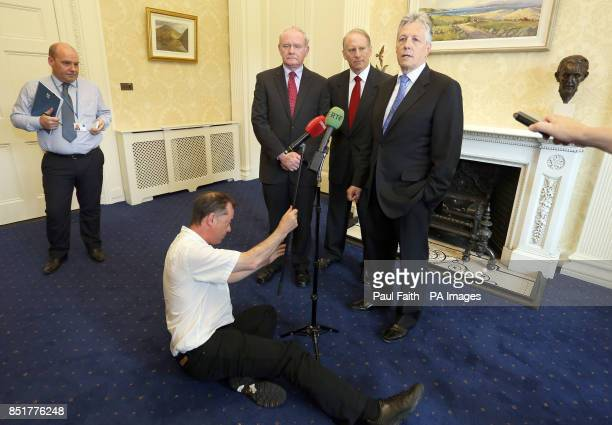 Former White House special envoy to Northern Ireland Dr Richard Haass with First Minister Peter Robinson and Deputy First Minister Martin McGuinness...