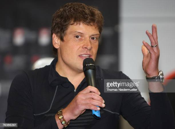 Former winner of the 'Tour de France' Jan Ullrich is seen during a press conference on August 30th 2007 in Friedrichshafen Germany Ullrich presents a...