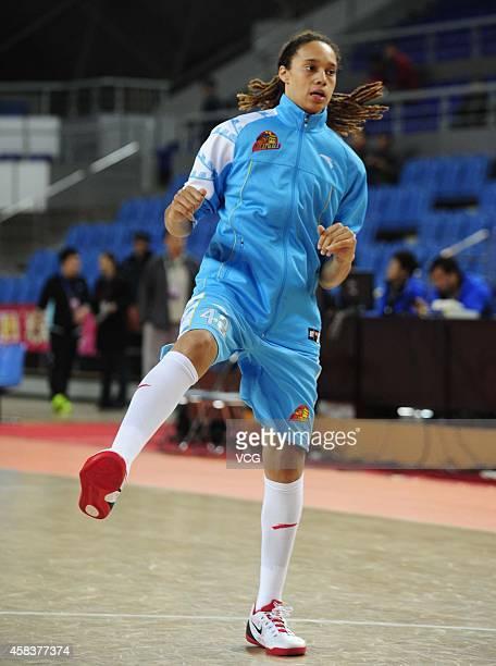 Former WNBA player CBA player Brittney Griner prepares for her CBA new season as a member of Beijing women's basketball team on November 4 2014 in...
