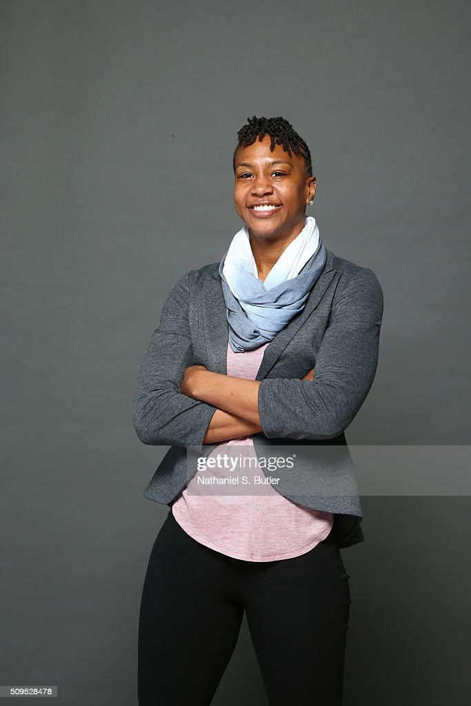 Former WNBA player <a gi-track='captionPersonalityLinkClicked' href=/galleries/search?phrase=Tamika+Catchings&family=editorial&specificpeople=202220 ng-click='$event.stopPropagation()'>Tamika Catchings</a> poses for portraits during the NBAE Circuit as part of 2016 All-Star Weekend at the Sheraton Centre Hotel on February 11, 2016 in Toronto, Ontario, Canada.
