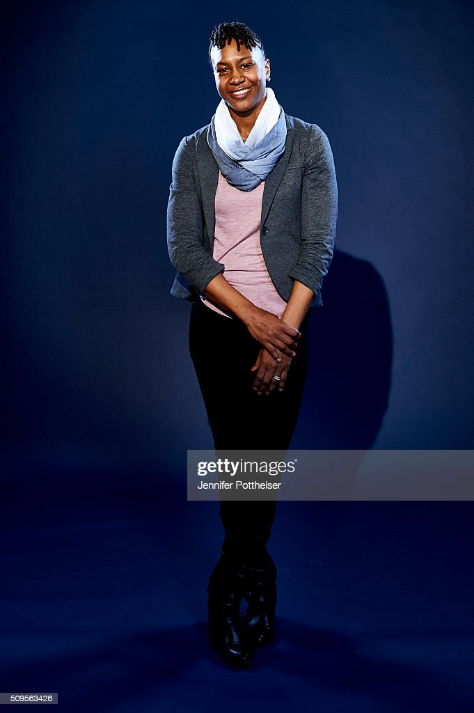 Former WNBA player Tamika Catchings poses for portraits during the NBAE Circuit as part of 2016 All-Star Weekend at the Sheraton Centre Hotel on February 11, 2016 in Toronto, Ontario, Canada.