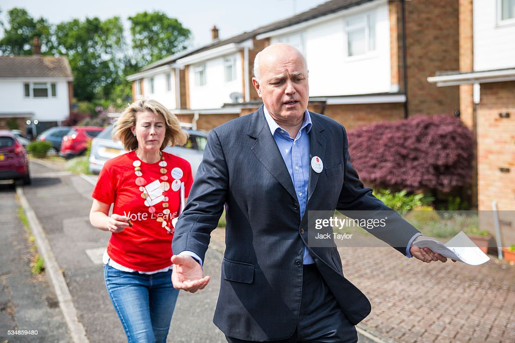 Former Work and Pensions Secretary <a gi-track='captionPersonalityLinkClicked' href=/galleries/search?phrase=Iain+Duncan+Smith&family=editorial&specificpeople=159312 ng-click='$event.stopPropagation()'>Iain Duncan Smith</a> canvassing on behalf of Vote Leave on May 28, 2016 in Maidstone, England. Former Work and Pensions Secretary <a gi-track='captionPersonalityLinkClicked' href=/galleries/search?phrase=Iain+Duncan+Smith&family=editorial&specificpeople=159312 ng-click='$event.stopPropagation()'>Iain Duncan Smith</a> and Employment Secretary Priti Patel are in Kent today campaigning for a vote to leave the European Union, ahead of the EU referendum on June 23rd.