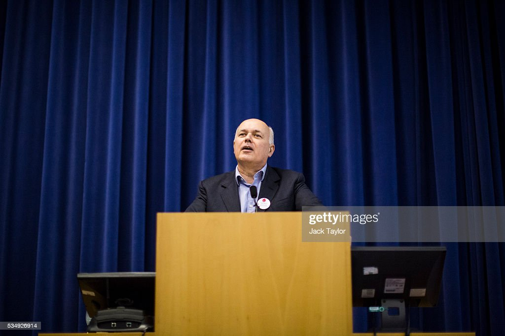 Former Work and Pensions Secretary <a gi-track='captionPersonalityLinkClicked' href=/galleries/search?phrase=Iain+Duncan+Smith&family=editorial&specificpeople=159312 ng-click='$event.stopPropagation()'>Iain Duncan Smith</a> delivers a speech at Kent County Council on May 28, 2016 in Maidstone, England. Prominent members of the Conservative Party are campaigning on behalf of Vote Leave in Kent today, ahead of the EU referendum on June 23rd.