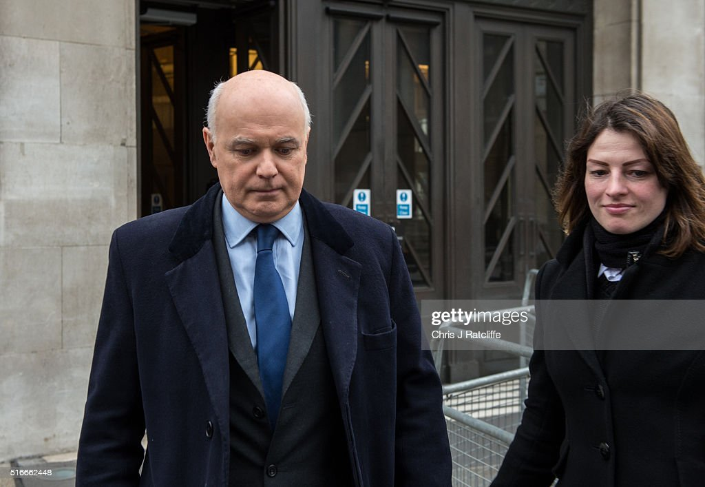 Former Work and Pensions Secretary Iain Duncan Smith leaves BBC New Broadcasting House after appearing on the Andrew Marr show on March 20, 2016 in London, England. Mr. Smith resigned from the cabinet position after George Osbourne announced in his budget that cuts would be made to disability benefits. The post has since been filled by Stephen Crabb.