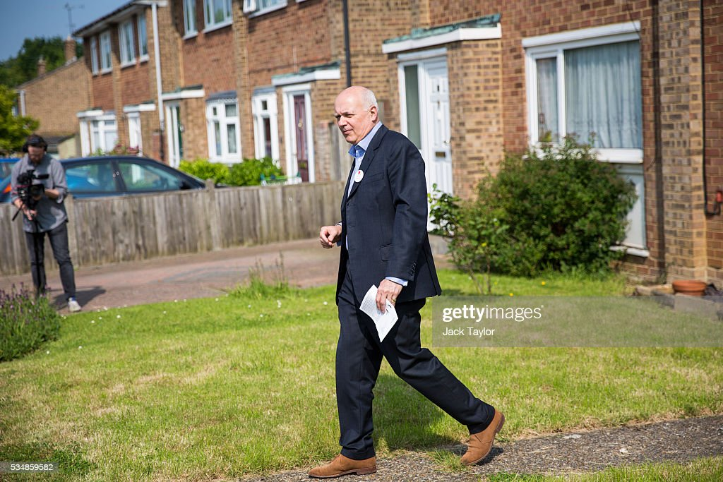 Former Work and Pensions Secretary <a gi-track='captionPersonalityLinkClicked' href=/galleries/search?phrase=Iain+Duncan+Smith&family=editorial&specificpeople=159312 ng-click='$event.stopPropagation()'>Iain Duncan Smith</a> out canvassing on behalf of Vote Leave on May 28, 2016 in Maidstone, England. Former Work and Pensions Secretary <a gi-track='captionPersonalityLinkClicked' href=/galleries/search?phrase=Iain+Duncan+Smith&family=editorial&specificpeople=159312 ng-click='$event.stopPropagation()'>Iain Duncan Smith</a> and Employment Secretary Priti Patel are in Kent today campaigning for a vote to leave the European Union, ahead of the EU referendum on June 23rd.