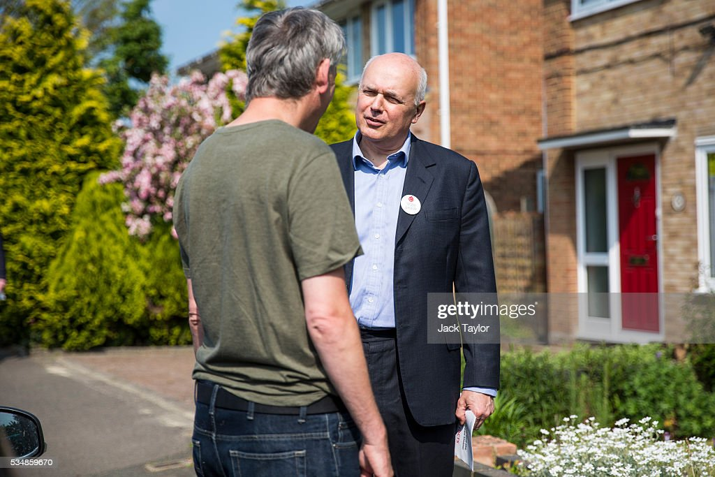 Former Work and Pensions Secretary <a gi-track='captionPersonalityLinkClicked' href=/galleries/search?phrase=Iain+Duncan+Smith&family=editorial&specificpeople=159312 ng-click='$event.stopPropagation()'>Iain Duncan Smith</a> speaks with a local resident while out canvassing on behalf of Vote Leave on May 28, 2016 in Maidstone, England. Former Work and Pensions Secretary <a gi-track='captionPersonalityLinkClicked' href=/galleries/search?phrase=Iain+Duncan+Smith&family=editorial&specificpeople=159312 ng-click='$event.stopPropagation()'>Iain Duncan Smith</a> and Employment Secretary Priti Patel are in Kent today campaigning for a vote to leave the European Union, ahead of the EU referendum on June 23rd.