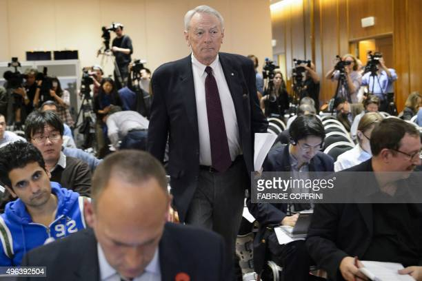 Former World AntiDoping Agency President and chairman of the WADA independent commission Richard W Pound arrives for the presentation before the...