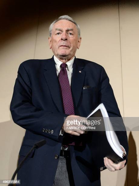 Former World AntiDoping Agency President and chairman of the WADA independent commission Richard W Pound takes part in the presentation before the...